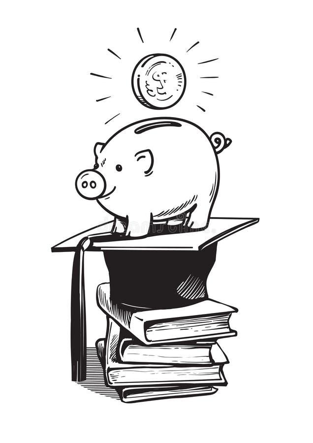 Τράπεζα Piggy με το καπέλο, τα χρήματα και το σωρό βαθμολόγησης των βιβλίων διανυσματική απεικόνιση