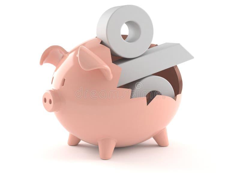 Τράπεζα Piggy με το σύμβολο τοις εκατό ελεύθερη απεικόνιση δικαιώματος