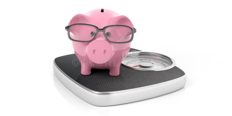 Τράπεζα Piggy σε έναν ζυγό που απομονώνεται στο άσπρο υπόβαθρο τρισδιάστατη απεικόνιση ελεύθερη απεικόνιση δικαιώματος