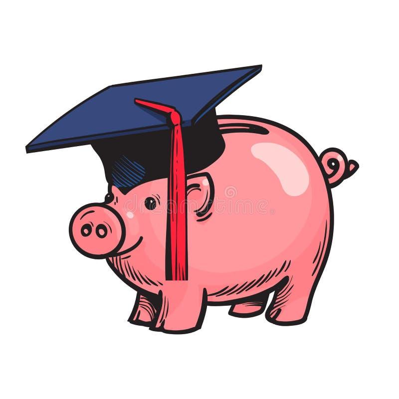 Τράπεζα Piggy στο καπέλο βαθμολόγησης διάνυσμα απεικόνιση αποθεμάτων