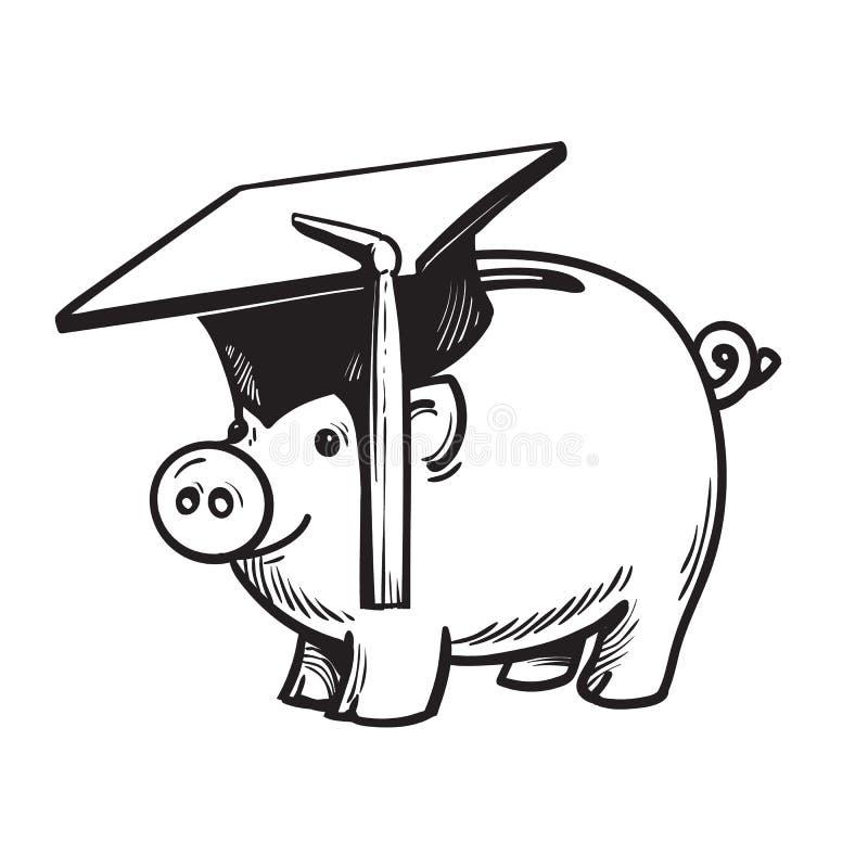 Τράπεζα Piggy στο καπέλο βαθμολόγησης διάνυσμα ελεύθερη απεικόνιση δικαιώματος