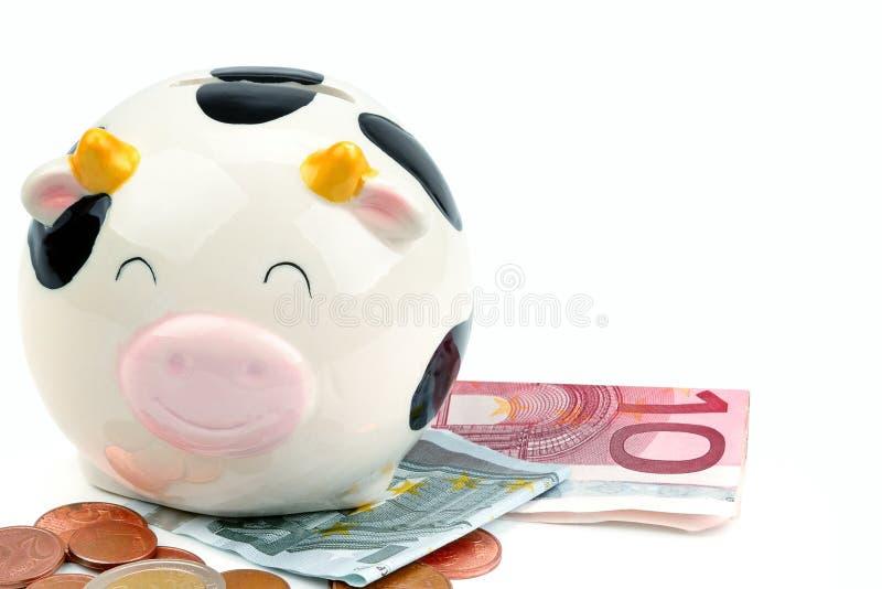 Τράπεζα Piggy, τραπεζογραμμάτια και ευρο- νομίσματα που απομονώνονται στο άσπρο υπόβαθρο Ελεύθερου χώρου για το κείμενο στοκ εικόνα