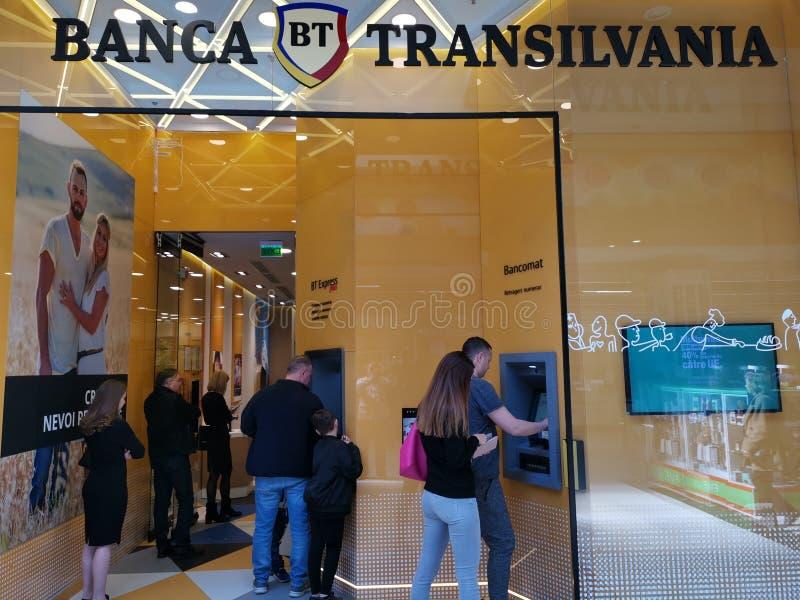 Τράπεζα Transilvania εσωτερικό στη λεωφόρο στοκ εικόνα με δικαίωμα ελεύθερης χρήσης