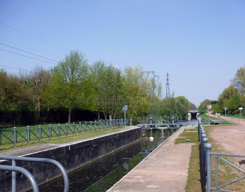 Τράπεζες του Deû LE waterway μεταξύ του Βελγίου και της Γαλλίας στοκ φωτογραφία με δικαίωμα ελεύθερης χρήσης