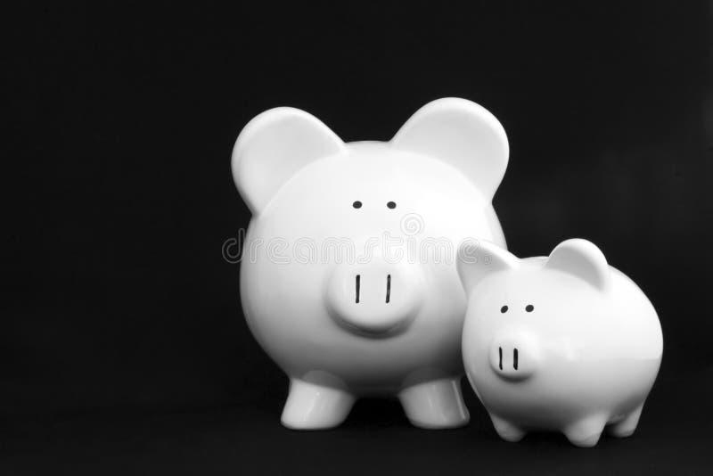 τράπεζες piggy δύο στοκ εικόνα