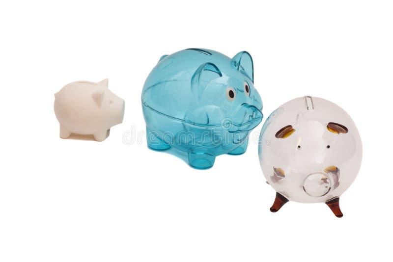 τράπεζες piggy τρία στοκ φωτογραφία με δικαίωμα ελεύθερης χρήσης