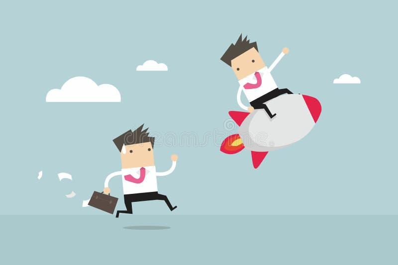 τρέξιμο έννοιας ανταγωνισμού επιχειρησιακών επιχειρηματιών χαρτοφυλάκων Ανταγωνιστικό πλεονέκτημα ελεύθερη απεικόνιση δικαιώματος