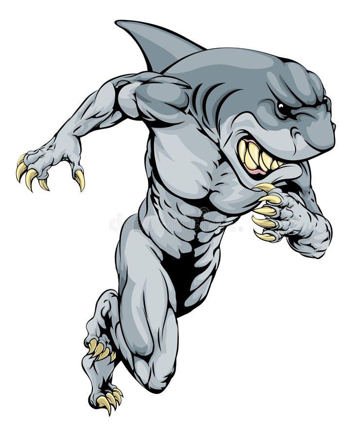 Τρέξιμο αθλητικών μασκότ καρχαριών διανυσματική απεικόνιση