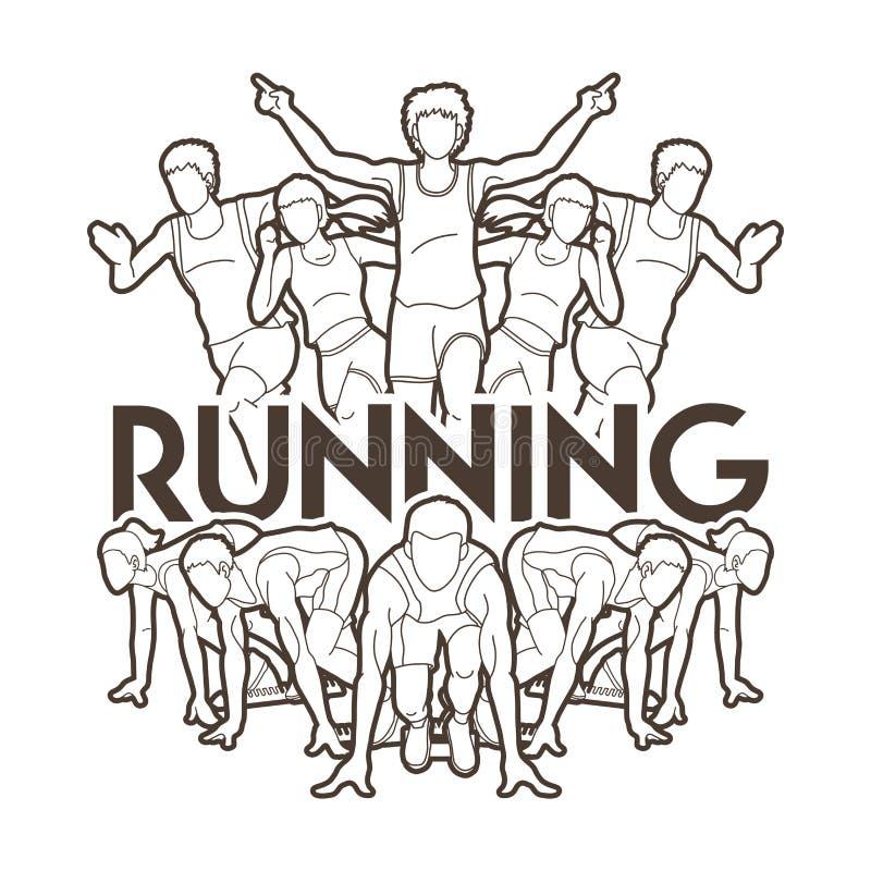 Τρέξιμο ανθρώπων, δρομέας, μαραθώνιος που τρέχει, εργασία ομάδας που τρέχει, διανυσματική απεικόνιση