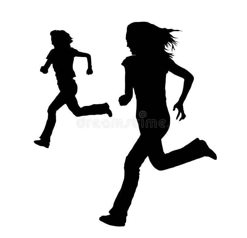τρέξιμο δύο γυναικών διανυσματική απεικόνιση