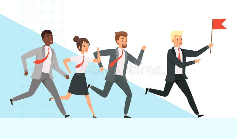 τρέξιμο επιχειρηματιών Οι διευθυντές εργαζομένων άνδρα-γυναίκας πηγαίνουν με την ηγεσία χεριών κόκκινων σημαιών διευθυντή ηγετών  απεικόνιση αποθεμάτων