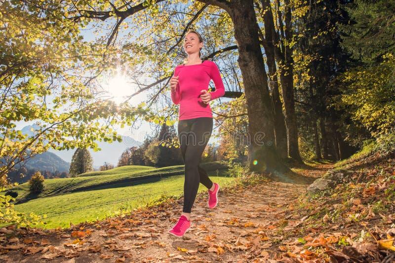 Τρέξιμο μέσω του δάσους φθινοπώρου στοκ φωτογραφίες