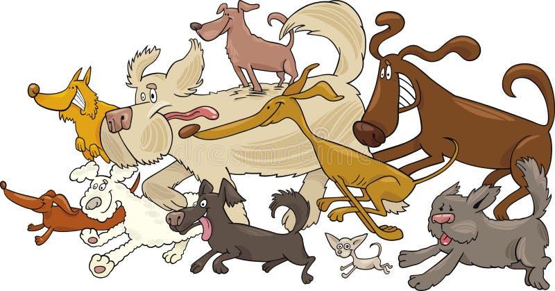 τρέξιμο σκυλιών ελεύθερη απεικόνιση δικαιώματος