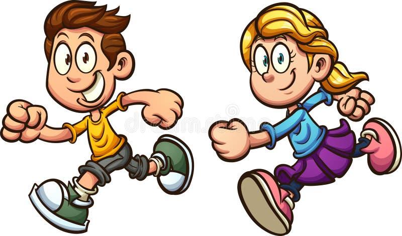 Τρέχοντας αγόρι και κορίτσι κινούμενων σχεδίων ελεύθερη απεικόνιση δικαιώματος