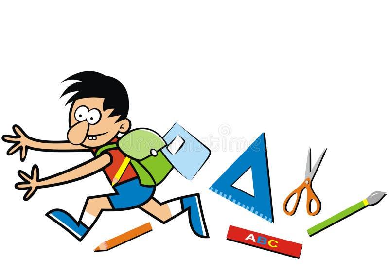 Τρέχοντας αγόρι με το schoolbagg και τους εξοπλισμούς, eps διανυσματική απεικόνιση