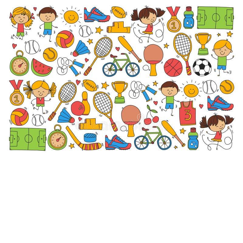 Τρέχοντας αθλητισμός παιδιών μπέιζ-μπώλ βραβείων ποδηλάτων καλαθοσφαίρισης αντισφαίρισης πετοσφαίρισης ποδοσφαίρου αθλητικής ικαν απεικόνιση αποθεμάτων