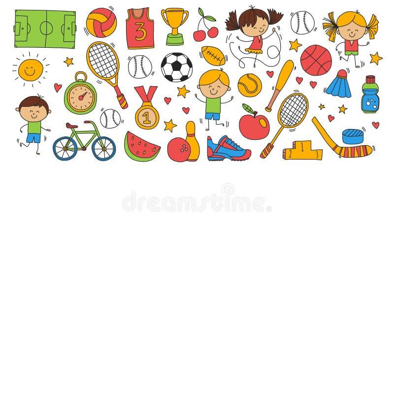 Τρέχοντας αθλητισμός παιδιών μπέιζ-μπώλ βραβείων ποδηλάτων καλαθοσφαίρισης αντισφαίρισης πετοσφαίρισης ποδοσφαίρου αθλητικής ικαν διανυσματική απεικόνιση
