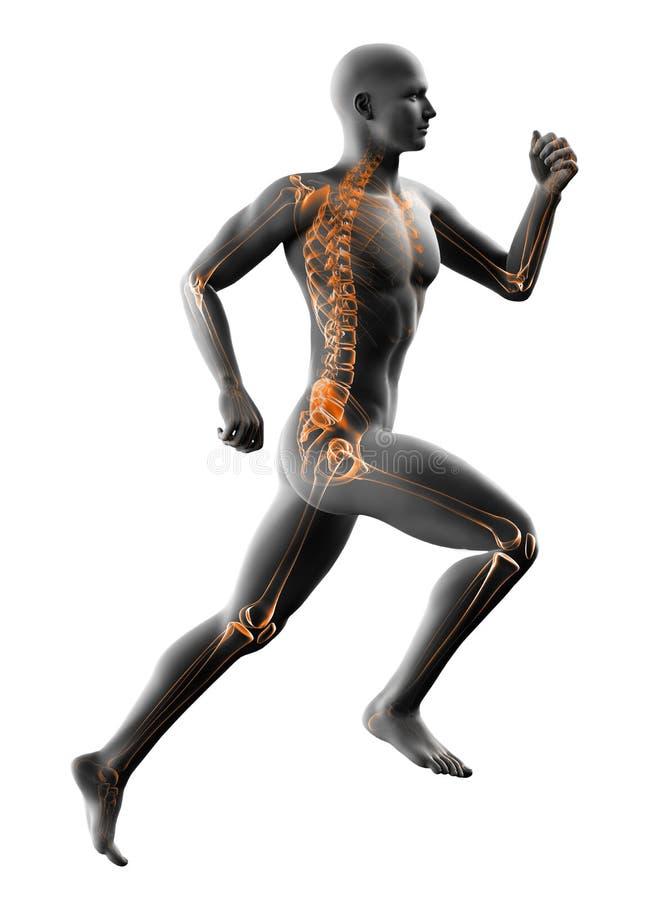 Τρέχοντας ακτίνα X ατόμων στο λευκό διανυσματική απεικόνιση