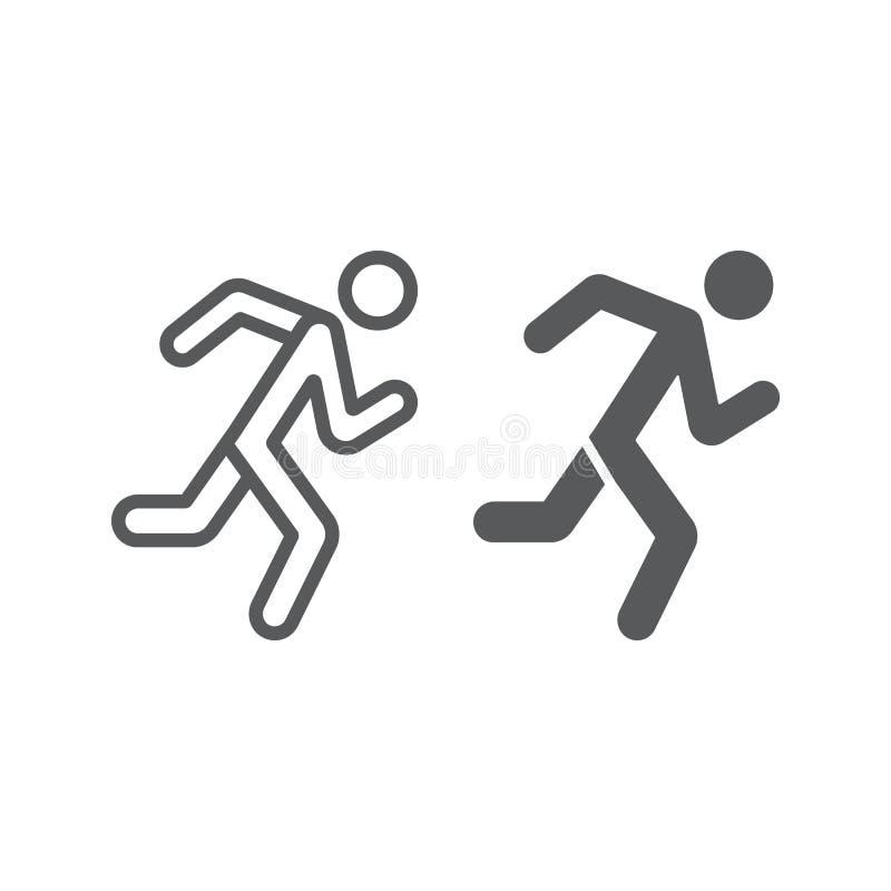 Τρέχοντας γραμμή και glyph εικονίδιο ατόμων, αθλητισμός και, σημάδι δρομέων, διανυσματική γραφική παράσταση, ένα γραμμικό σχέδιο  απεικόνιση αποθεμάτων