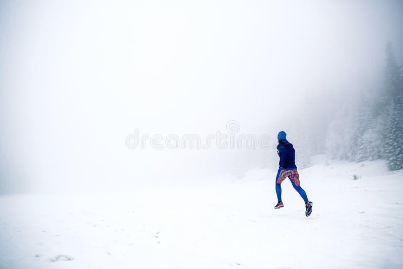 Τρέχοντας γυναίκα ιχνών στο χιόνι στα χειμερινά βουνά στοκ εικόνες με δικαίωμα ελεύθερης χρήσης