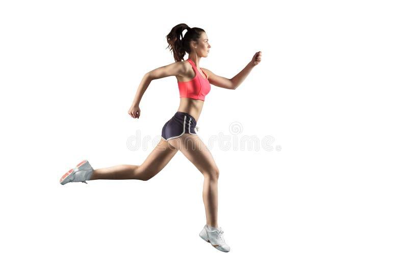 Τρέχοντας γυναίκα που απομονώνεται στο άσπρο υπόβαθρο στοκ εικόνες με δικαίωμα ελεύθερης χρήσης