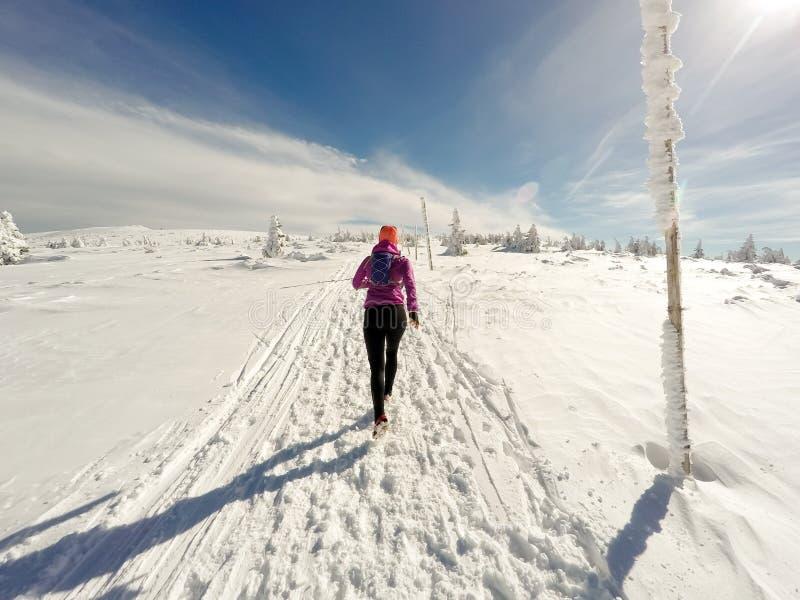Τρέχοντας γυναίκα στο χειμερινό ίχνος, το χιόνι και τα άσπρα βουνά στοκ φωτογραφία με δικαίωμα ελεύθερης χρήσης