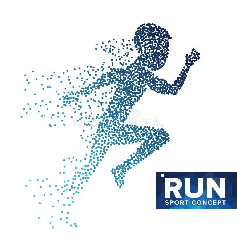 Τρέχοντας διάνυσμα σκιαγραφιών ατόμων Ημίτοά σημεία Grunge Δυναμικός αθλητής στη δράση Πετώντας διαστιγμένα μόρια Αθλητικό έμβλημ ελεύθερη απεικόνιση δικαιώματος