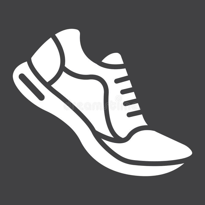 Τρέχοντας εικονίδιο, ικανότητα και αθλητισμός παπουτσιών glyph απεικόνιση αποθεμάτων