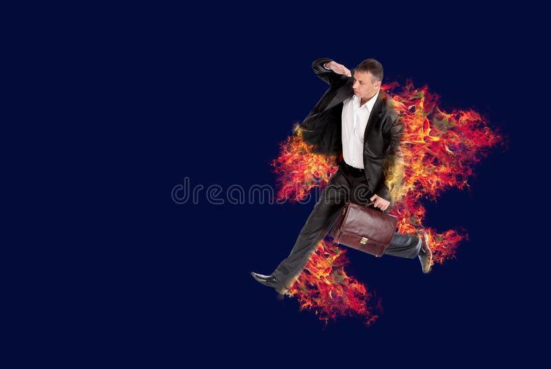 Τρέχοντας επιχειρηματίας καψίματος στοκ εικόνα με δικαίωμα ελεύθερης χρήσης