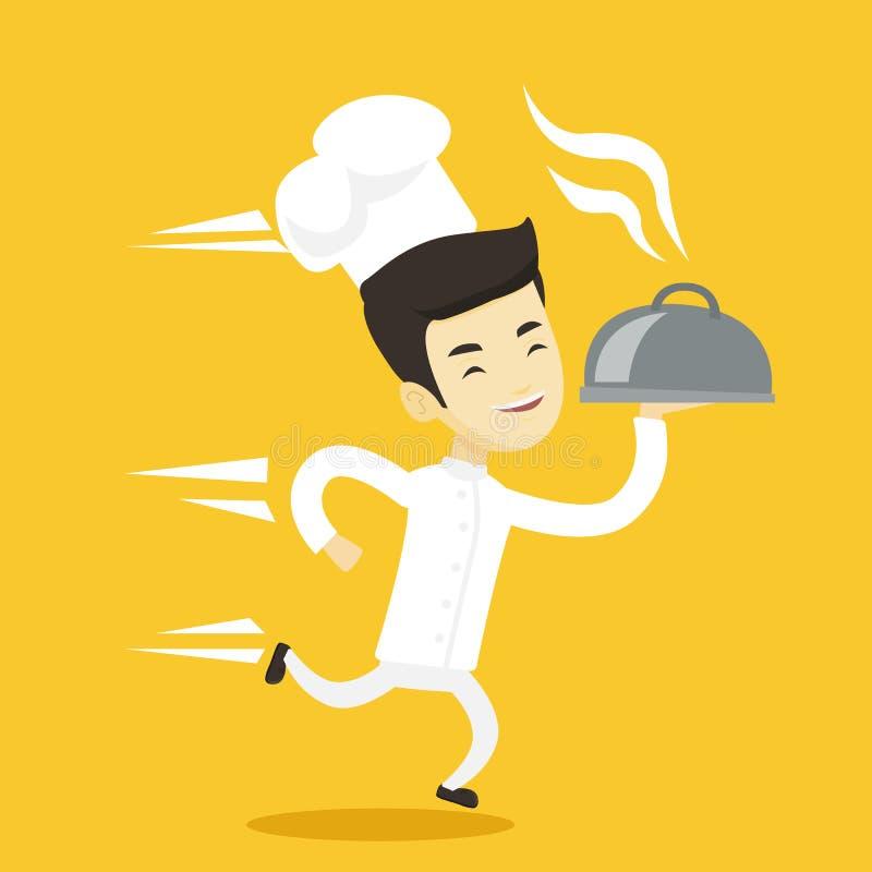 Τρέχοντας διανυσματική απεικόνιση μαγείρων αρχιμαγείρων ελεύθερη απεικόνιση δικαιώματος