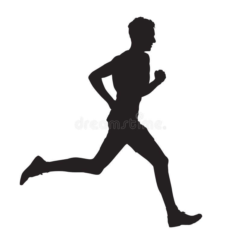 Τρέχοντας διανυσματική σκιαγραφία πλάγιας όψης ατόμων διανυσματική απεικόνιση
