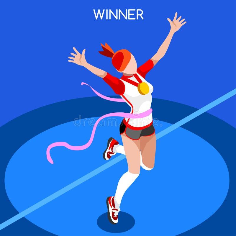 Τρέχοντας κερδίζοντας τρισδιάστατη διανυσματική απεικόνιση θερινών αγώνων γυναικών ελεύθερη απεικόνιση δικαιώματος