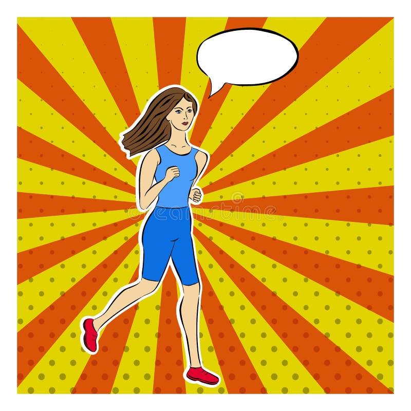 Τρέχοντας κορίτσι στο ύφος λαϊκός-τέχνης Διαστιγμένος, ακτίνες, λαϊκό καρφίτσα-επάνω σχέδιο υποβάθρου τέχνης Κωμική ομιλία, σκεπτ διανυσματική απεικόνιση