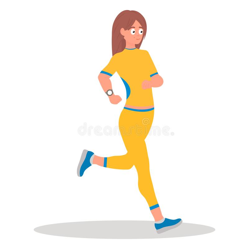 Τρέχοντας κορίτσι, τρέξιμο Νέο άσπρο τρέξιμο κοριτσιών Φίλαθλη άσκηση κοριτσιών Υγιής έννοια τρόπου ζωής και αθλητισμού απεικόνιση αποθεμάτων