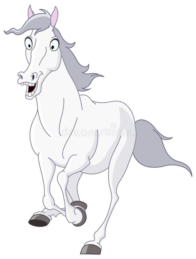 τρέχοντας λευκό αλόγων ελεύθερη απεικόνιση δικαιώματος
