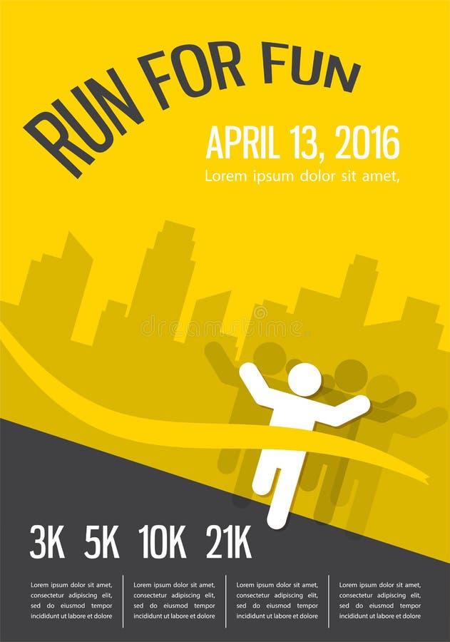 Τρέχοντας μαραθώνιος, τρέξιμο ανθρώπων, ζωηρόχρωμο σχέδιο αφισών διανυσματική απεικόνιση