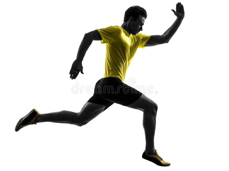Τρέχοντας σκιαγραφία δρομέων νεαρών άνδρων sprinter στοκ εικόνες