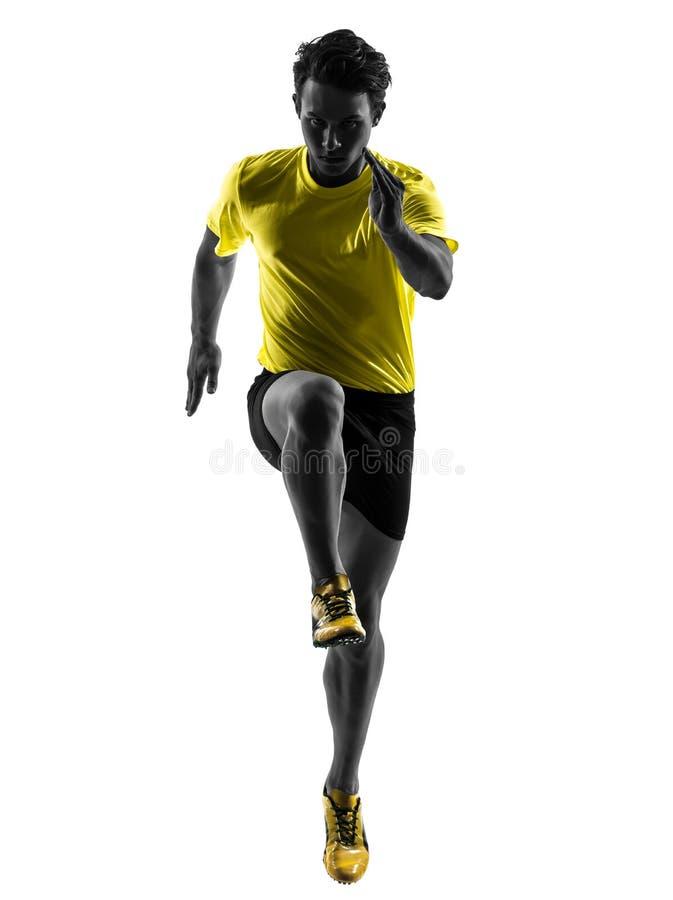 Τρέχοντας σκιαγραφία δρομέων νεαρών άνδρων sprinter στοκ εικόνα