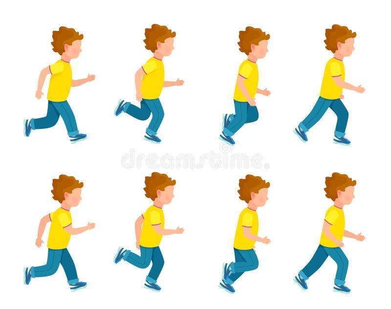 Τρέχοντας σύνολο δαιμονίου ζωτικότητας αγοριών βρόχος 8 πλαισίων διανυσματική απεικόνιση