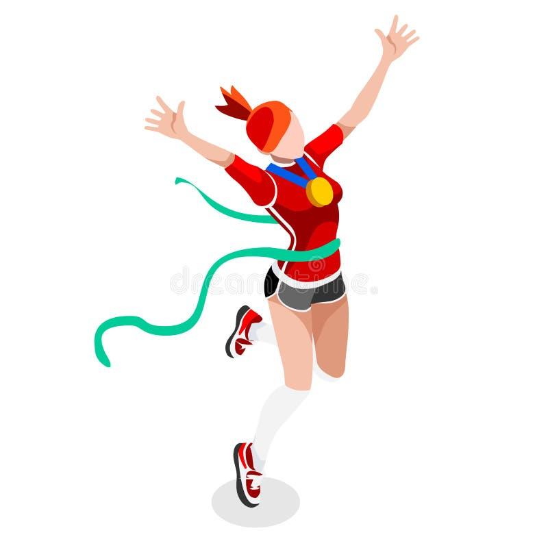 Τρέχοντας σύνολο εικονιδίων θερινών αγώνων αθλητισμού γυναικών νίκης Κερδίστε την έννοια Τρισδιάστατος Isometric Ολυμπιακών Αγώνω ελεύθερη απεικόνιση δικαιώματος