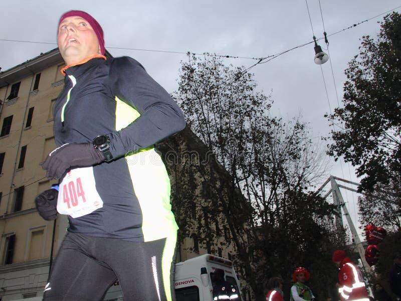Τρέχοντας φυλή μαραθωνίου πόλεων της Γένοβας στις 2 Δεκεμβρίου 2018 στοκ εικόνες με δικαίωμα ελεύθερης χρήσης