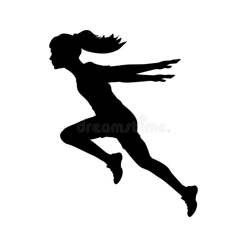 Τρέχοντας χέρια κοριτσιών σκιαγραφιών πίσω στοκ εικόνες
