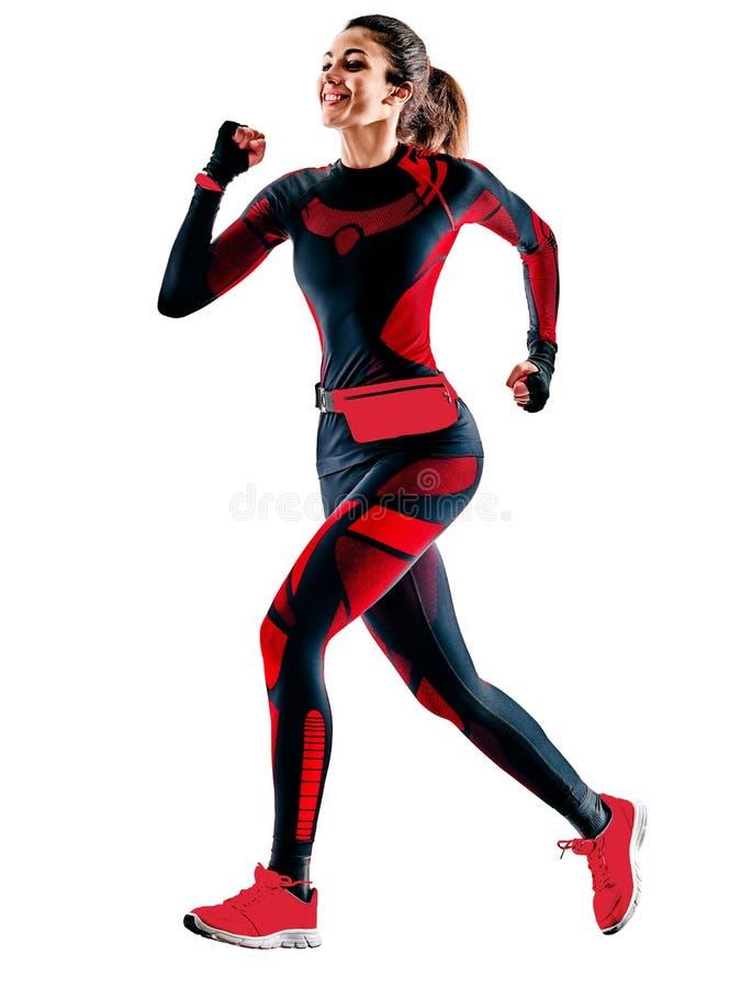Τρέχοντας jogger jogging jumpsuit απομονωμένο άσπρο υπόβαθρο δρομέων γυναικών στοκ φωτογραφία με δικαίωμα ελεύθερης χρήσης