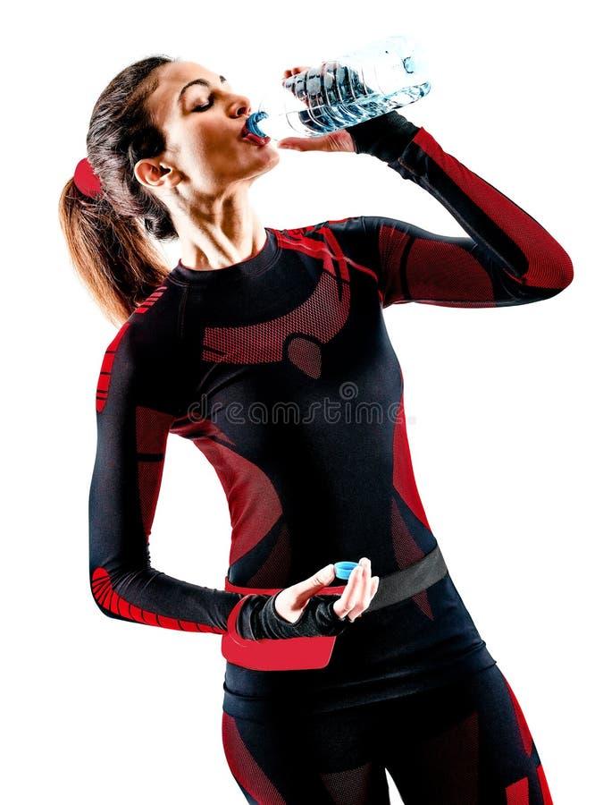 Τρέχοντας jogger jogging jumpsuit απομονωμένο άσπρο υπόβαθρο δρομέων γυναικών στοκ φωτογραφίες
