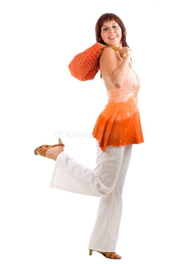 τρέχοντας shopaholic γυναίκα στοκ φωτογραφία με δικαίωμα ελεύθερης χρήσης
