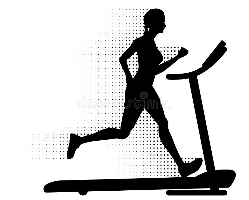 τρέχοντας treadmill γυναίκα διανυσματική απεικόνιση