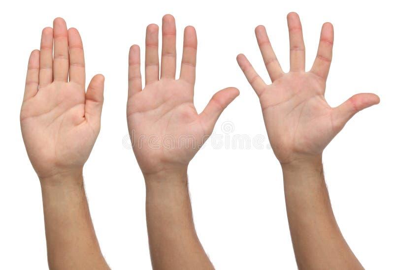 Τρία ανοικτά χέρια στις διαφορετικές θέσεις στοκ φωτογραφία με δικαίωμα ελεύθερης χρήσης