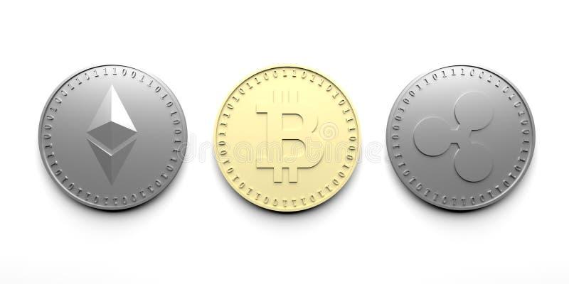 Τρία απομόνωσαν τα νομίσματα σε ένα άσπρο υπόβαθρο - Bitcoin, Ethereum, κυματισμός, τρισδιάστατη απόδοση στοκ εικόνες