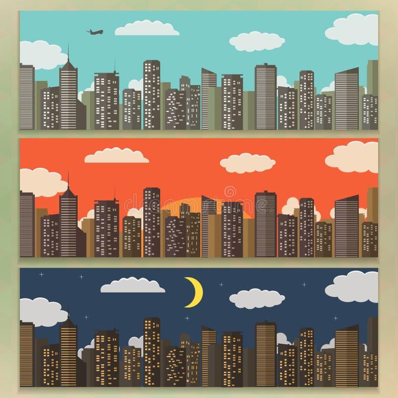 Τρία αστικά εμβλήματα τοπίων Υπόβαθρο θερινών πόλεων επίσης corel σύρετε το διάνυσμα απεικόνισης απεικόνιση αποθεμάτων