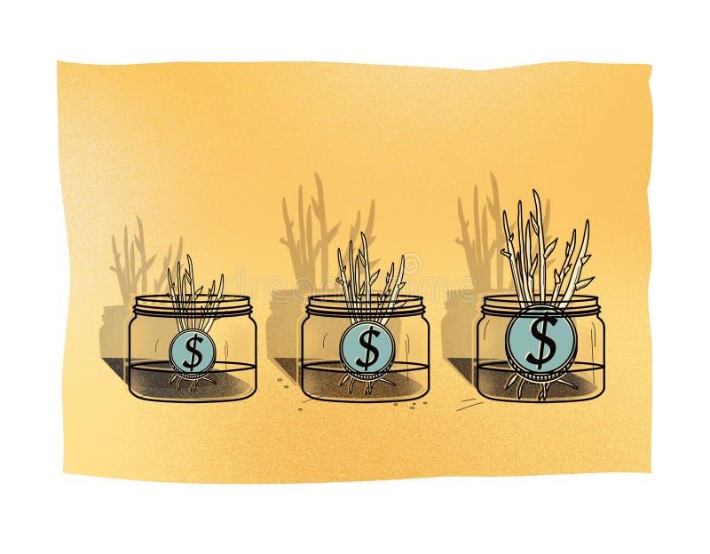 Τρία βάζα γυαλιού με τα νομίσματα δολαρίων από τα οποία αυξηθείτε τους νέους βλαστούς των εγκαταστάσεων επενδύσεις διανυσματική απεικόνιση